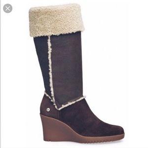 Ugg Sandra brown suede wedge knee high boots 10